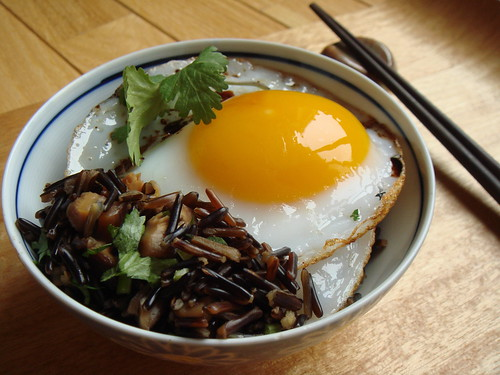 Duck Eggs Over Wild Rice