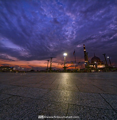 Marching Clouds (Firdaus Mahadi) Tags: sunset sky cloud tower clouds islam mosque malaysia putrajaya awan dataran fm masjid islamic langit matahari    bangunan   putramosque   masjidputra dataranputra vertorama tokina1116mmf28 islamcultureandpeople firdausmahadi firdaus