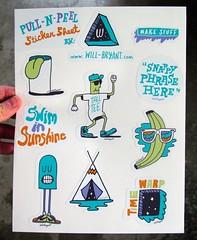 Pull-N-Peel Sticker Sheet (Willbryantplz) Tags: tongue illustration promo sticker banana dude teepee chill diecut