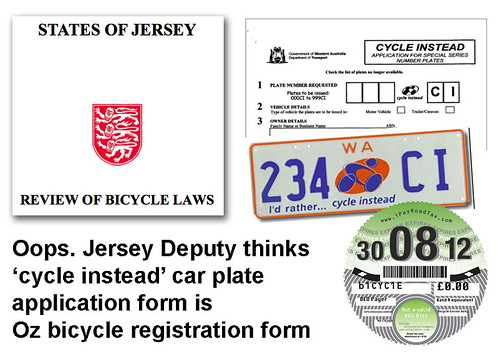 Jersey discusses registration of cyclists but uses Australian vanity car number plate form