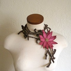 Lotus Flower Lariat- Cerise Pink (Betsie Withey) Tags: pink brown motion flower art mi scarf spring pretty lotus embroidery michigan unique crochet free elf fantasy lariat wearable rowan beading beaded saugatuck summertweed seedbeads scarflette artwear cerisepink fiberjewelry artscarf fibernecklace