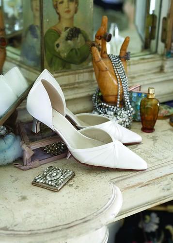 Wedding shoes with medium heels.