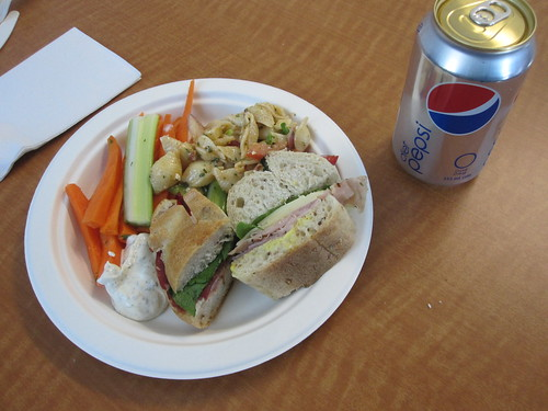Crudités, yogurt dip, Diet Coke, pasta sald, sandwich
