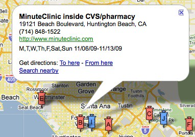 Google Flu Shot Locator