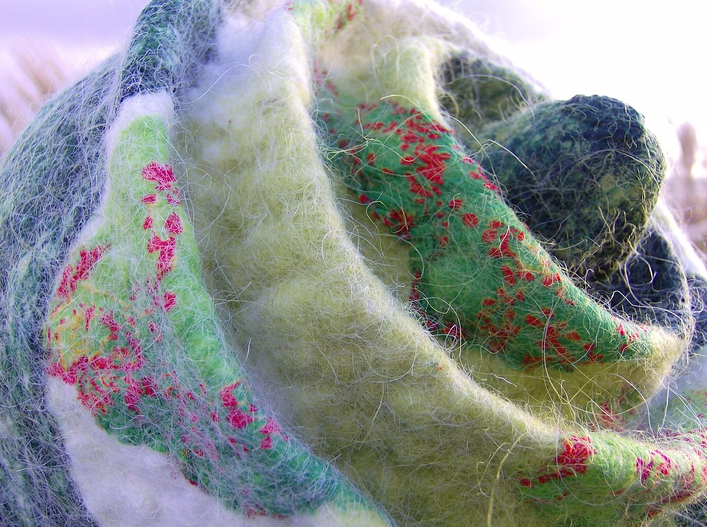 Detail of the printed silk chiffon and green silk hankies