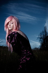 Back Out (delinion) Tags: trees portrait woman girl field female night dark outside back solitude alone dusk longhair blues pinkhair glance pinks lookingover lookingbehind