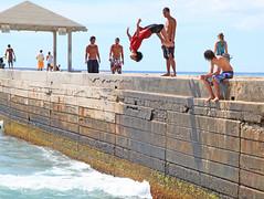 Kapahulu Shallow Backflip (sgblyth) Tags: ocean beach hawaii jump jumping waikiki oahu dive diving jumper diver walls bomb leap jumps leaping breakwater walz backflip gainer kapahulu wallz