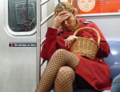 Red Hot Riding Hood (an untrained eye) Tags: woman newyork colour halloween topf25 topv111 topv2222 subway topv555 topv333 topf75 basket unitedstates manhattan candid topv1111 topv999 streetphotography tights topv222 topv5555 topv777 topv9999 topv11111 topv3333 pantyhose redridinghood ftrain delancey fishnetstockings topv6666 topv7777 essexstreet anuntrainedeye dwcffstreet