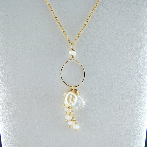 White Topaz with Moonstone and Pearl Necklace