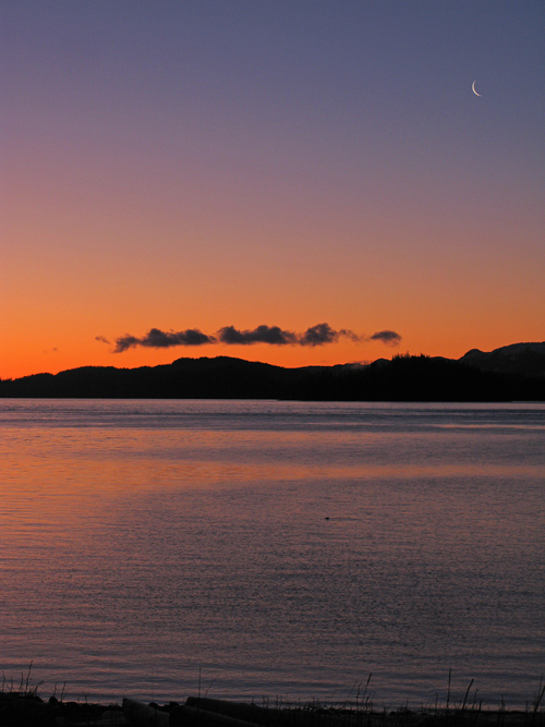 new moon over Kasaan Bay, Alaska