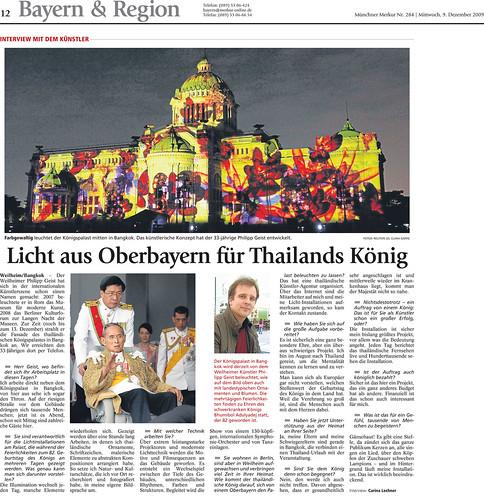 Licht aus Oberbayern für Thailands König - TZ 09.12.2009