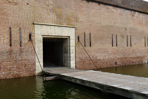 No, you're not imagining it: that is indeed a moat, drawbridge and iron bars. Part of Fort Pulaski's security measures include a moat all the way around and