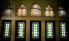 Stained glass windows in merchants house of the Khan -e Abbasin, Kashan-Iran (karl_beeney) Tags: iran kashan stainedglasswindows