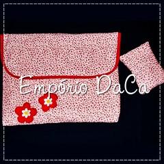 Capa de Notebook Red Flower (emporiodaca) Tags: notebook handmade artesanato notebookbag capadenotebook empriodaca