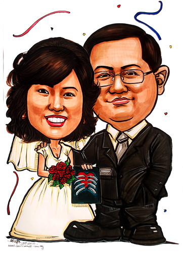 wedding couple caricature 160110