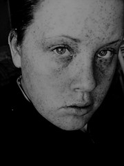 Its about time I embrace these freckles. (birdie.pruett) Tags: bw white black me intense eyes industrial freckles embrace