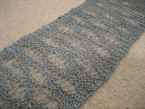 seafoam scarf blocking