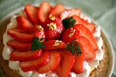 Homemade strawberry tarte (MasakazuOkuda) Tags: red food macro cake canon 50mm gold strawberry dof tarte  project365 kissx3