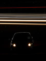 Catch you !!  (ALQABBANI) Tags: light car night speed dark darkness fat low shutter         canon40d