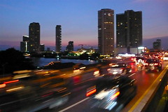 City pace (juliaclairejackson) Tags: life road city urban blur cars night speed thailand lights twilight cityscape bangkok fast busy motionblur taillights frenetic fastpace