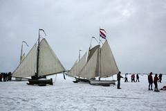 Ice sailing on the Gouwzee, the Netherlands (sensaos) Tags: schnee winter snow cold holland netherlands dutch sport zeilen europa europe sneeuw nederland tradition nederlands noordholland ijs noord the monnickendam traditie gouwzee ijszeilen
