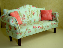 Aqua Floral Chippendale Sofa by Peach Blossom Hill