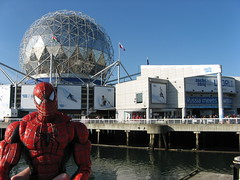 Spider-Man waits in line for Sochi House (during the 2010 Vancouver Olympics)