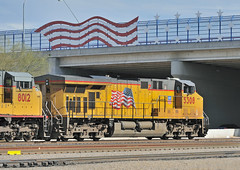 Union Pacific--Flag Carrier. The red, white and blue is everywhere as UP General Electric C45ACCTE 5308 leads an eastbound freight train from Tucson Yard, Arizona, January 7, 2010 (Ivan S. Abrams) Tags: railroad up train tucson railway trains unionpacific locomotive freighttrains railways locomotives railroads freighttrain switching tucsonarizona uprr railroadyard shunting goodstrain overlandroute pimacounty sunsetroute railroadyards goodstrains ivansabrams arizonatrains nikond700 armoryellow harborgray abramsandmcdanielinternationallawandeconomicdiplomacy ivansabramsarizonaattorney ivansabramsbauniversityofpittsburghjduniversityofpittsburghllmuniversityofarizonainternationallawyer