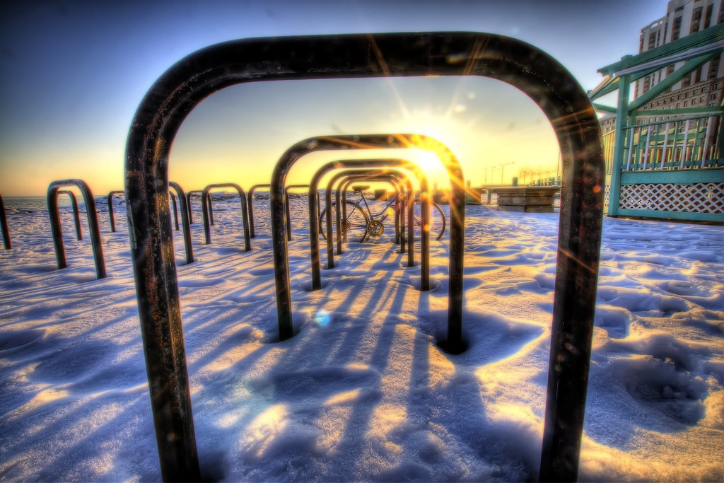 A bicycle rack on Oak Street Beach.