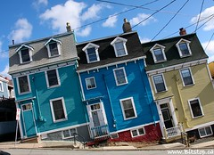 Crooked Houses (Karen_Chappell) Tags: road street city blue windows urban house canada green yellow newfoundland geotagged downtown doors colours stjohns tilt nfld eastcoast rowhouse jellybeanrow geo:lat=47567717 geo:lon=52705166