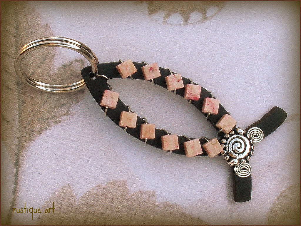 Christian Fish Key Ring by rustiqueart
