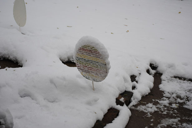 easter decorations in snow