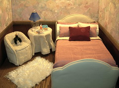 Bedroom Diorama (Spicyfyre Creations) Tags: pink floral bedroom diorama playscale dolldiorama