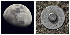 there's a full moon on Monday..... (MyArtistSoul) Tags: monochrome diptych asphalt 100400mm 70200mm streettag lookuplookdown 34moon skystreet