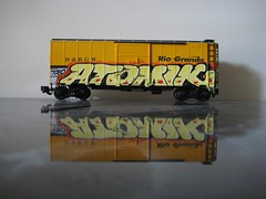 Atomik x Rio Grande (KING YNOT LIVES) Tags: atlanta scale train graffiti model freight riogrande tsc atomik drgw dtek