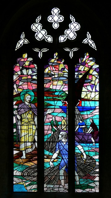 Christ appearing to St. Peter stained glass by Francis Skeat
