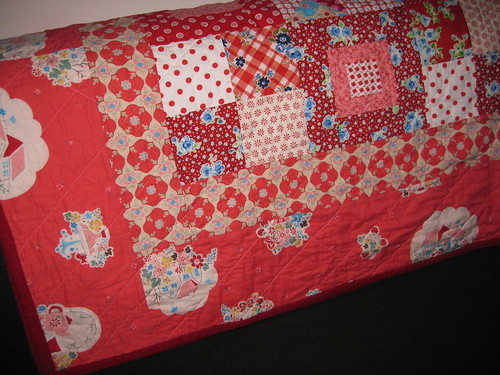 gramas garden quilt, quarter-folded