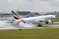 EK 777-300ER Spinning up the Tires at Paine Field (Bob the Airplane Nut) Tags: emirates ek 777 kpae 777300er a6ega