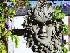 Spring Garden Decoration (Tony Worrall Foto) Tags: uk england urban plants nature face stone plaque garden spring northwest decoration grow lancashire preston greenman lancs