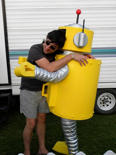 Ed Droste and Plex hug it out