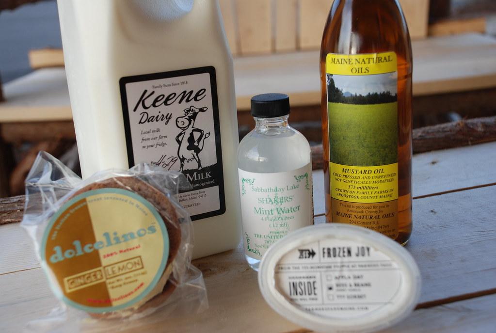 Maine products: Keene Dairy raw milk, Maine Natural Oils mustard oil, Mint Water, dolcelinos sandwich, Farmer Fare Frozen Joy