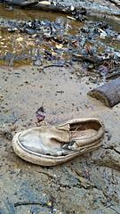 What lies beneath (Dave* Seven One) Tags: lakeallatoona ga lowtide water h20 rocks stones shoes junk trash debris forgotten vans sneaker