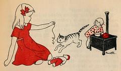 Nans van Leeuwen - 3 kleine poesjes en een dikke man 1948, ill pg 19 (janwillemsen) Tags: nansvanleeuwen bookillustration cats 1948