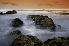 Rocky V - [Explore #234] (Africa Dave) Tags: africa sea sky mist seascape detail beach water rock landscape southafrica coast seaside sand rocks photographer south smooth shoreline silk rocky coastal filter shore coastline graduated tabacco durban cokin nd8 nd4 gettyimagesmeandafrica1