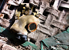 Discarded gas mask