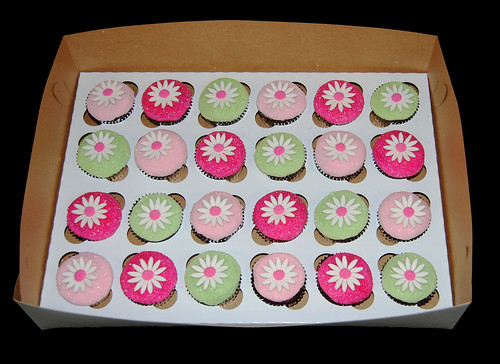 Glittery Pink and Green Daisy 2nd Birthday Cupcakes box