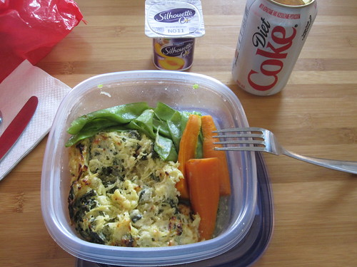 Spaghetti squash and feta gratin, carrots, snow peas, yogourt from home, Diet Coke from the machine ($1.25)