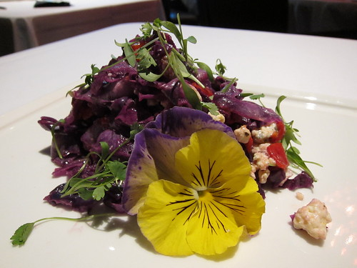 Salad of red cabbage, cabrales blue cheese, lardons