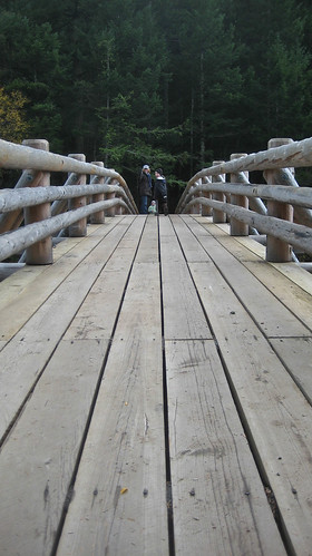 Crossing new bridge