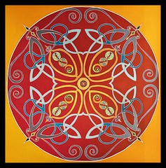 Celtic Circle (CarolAnneS) Tags: blue red painting gold colourful acryliconcanvas sharingart celticcircle